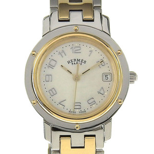 Real HERMES Hermes Clipper Nacre Ladies Quartz Wrist Watch White Shell Dress Code: CL 4.220