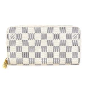 Genuine Louis Vuitton Damier Azur Sippy Wallet Round Zipper Long Purse Leather