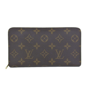 Genuine Louis Vuitton Monogram Porto Monet Zip Round Zipper Long Purse Wallet Leather