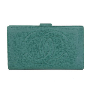 Genuine CHANEL Chanel Coco Mark Caviar Skin Gusseted Folded Long Purse Green 3rd Series Wallet Leather