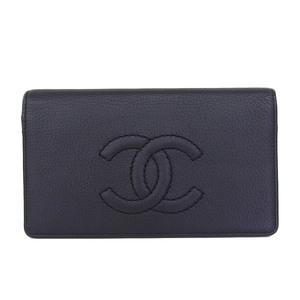 Genuine CHANEL Chanel Coco Mark Soft Caviar Skin Chain Folded Long Purse Black 10 Series Wallet Leather