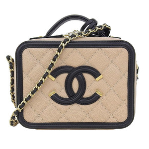 Genuine CHANEL Chanel caviar skin vanity bag shoulder by color 24 series Model number: A93342 leather
