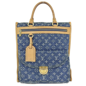 Real LOUIS VUITTON Louis Vuitton Monogram Denim Flat Shopper Handbag Blue Bag Leather