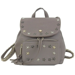 Genuine JIMMY CHOO Jimmy Cheung Star Studs Leather Backpack Gurej Bag