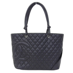 Genuine CHANEL Chanel Lambskin Cambon Line Large Tote Bag Black 9 Series Leather