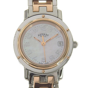 Real HERMES Clipper Nacre Women's Quartz Wrist Watch Pink Shell Dial: Part Number: CL 4.221