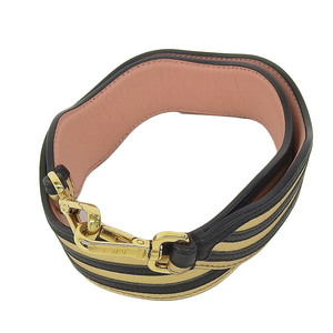 Genuine FENDI Fendi Strap You Bag Leather Gold × Black