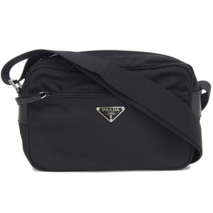 Genuine PRADA Prada Nylon Shoulder Bag Black Leather