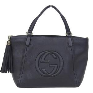 Genuine GUCCI Gucci Soho Leather Handbag Black Gold Hardware Model Number: 369176 Bag