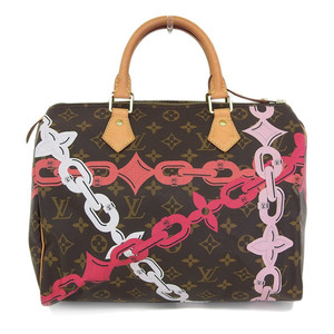 Real LOUIS VUITTON Louis Vuitton Monogram Speedy chain pattern Boston bag hand number: M41989 Bag leather