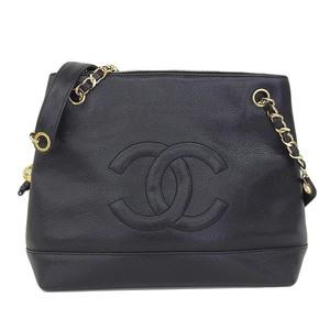 Genuine CHANEL Chanel Coco Mark Caviar Skin Chain Shoulder Bag Black 2 Series Leather