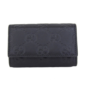 Genuine GUCCI Gucci Sima Leather 6 Sequential Key Case Black 138093