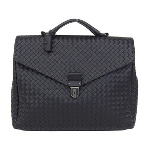 Genuine BOTTEGA VENETA Bottega Veneta Intorechat Leather Business Bag Briefcase Black