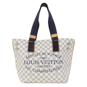 Genuine Louis Vuitton Damier Azur Plan Soleil Cover GM Tote Bag Model: N41180 Leather