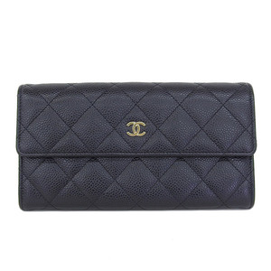 Genuine CHANEL Chanel Coco Mark Caviar Skin Matrasse Folded Long Purse Black 19 Series Wallet Leather