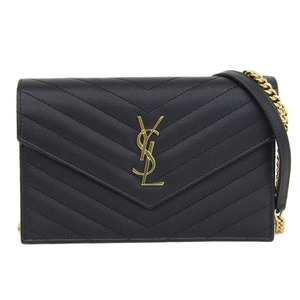 Authentic Yves Saint Laurent Paris Chain Shoulder Bag Black Leather