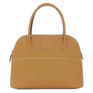 Real HERMES Vaud Epson Boledo 27 Handbag Brown X Engraved Bag Leather
