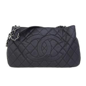Genuine CHANEL Chanel Coco Mark Soft Caviar Skin Chain Tote Bag Black 15 Series Leather