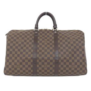 Authentic Louis Vuitton Damier Keep 50 Boston Bag Ebene Model Number: N41427 Leather