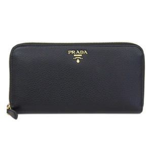 Authentic PRADA Prada Vitello Round Zipper Long wallet used marked black Part number: 1ML 506 purse leather