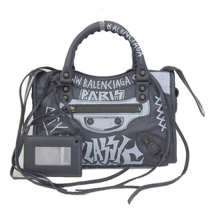 Genuine BALENCIAGA Balenciaga Graffiti Classic Mini City 2 Way Bag Shoulder 3002950 F Leather