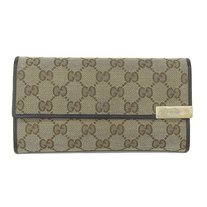 Genuine GUCCI Gucci GG canvas folding wallet beige pattern number: 291099 purse leather
