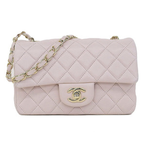Genuine CHANEL Chanel Lambskin Mini Matrasse Chain Shoulder Bag Light Pink 17 Series Leather