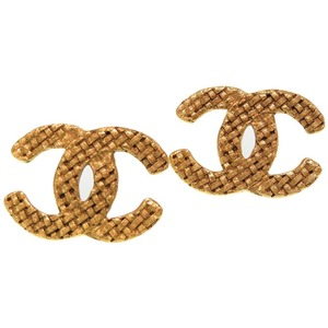 Chanel Vintage Coco Mark Contained Gold Earrings Accessory 0624 CHANEL Women's