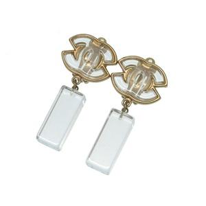 Chanel Coco Mark Plastic Clear Gold Earrings Accessory 0235 CHANEL Women's