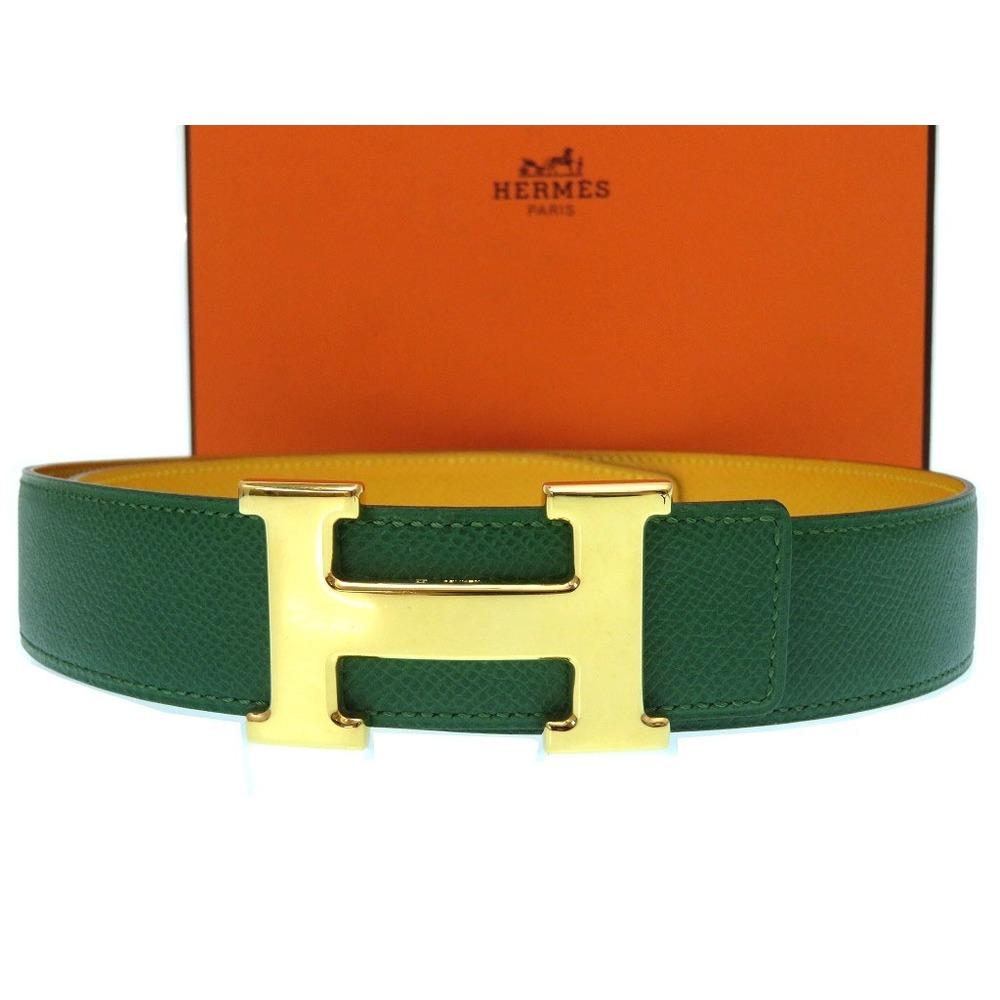 Hermes H buckle belt Kushubel green □ B engraved 0108 HERMES unisex