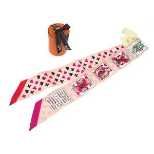 Unused HERMES TWILY SCARV Jeu de Cartes Trump Silk Scarf Pink 0101