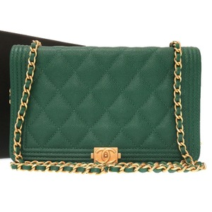 Unused Chanel Boy Caviar Skin Green Gold Chain Coco Mark Shoulder Bag 0285 CHANEL