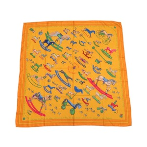 Hermes Carre Talking about 90 Horse Reconte moi Le Charal Scarf Silk 100% Yellow 0035 HERMES