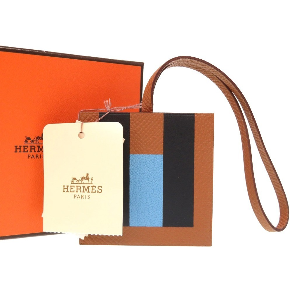 Hermes Leather Charm Gold,Celeste,Blue Obscurs