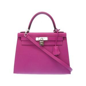 Like Hermes Kelly 28 Epson Rose Purple Outerwear 2 Way Shoulder Handbag A Engraved 2017 made 0016 HERMES