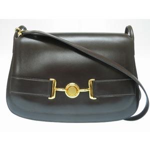 HERMES Vintage Shoulder Bag Box Calf Brown 0029 Women's