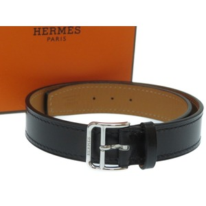 Unused HERMES 2 stations Bracelet / Choker Leather Black A Engraved (made in 2017) Accessories 0197