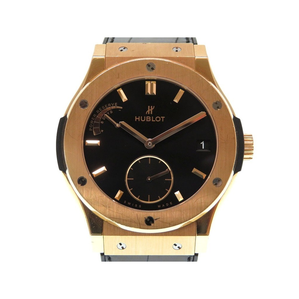 Hublot Classic Fusion King Gold Power Reserve 8 Days hand-wound wristwatch 516.OX.7080.LR K18PG black character board 0206 HUBLOT Men's