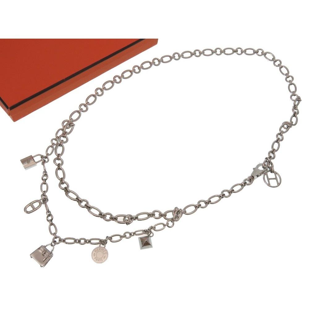 Unused Hermes Olga Silver Chain belt Kelly Serie Shane Dunkle Colliadian Cadena motif Necklace accessories Fri 0171 HERMES