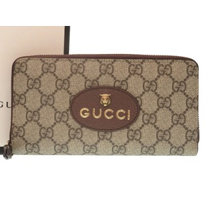 ea7d88883b51 Unused Gucci Neo Vintage GG Supreme Zip Around Wallet Tiger 473953 Round  Zipper Long Purse Beige