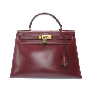 Hermes Kelly 32 Outer sewing box calf handbag Rouge Ash vintage ◯ J engraved (made in 1980) 0035 HERMES