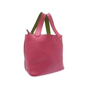 Hermès Picotan Ekra PM Chevro Rose Shocking Anise Green □ K Engraved Handbag Bag 0190 HERMES