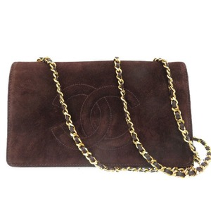 Chanel chain wallet long shoulder bag coco mark brown 0089 CHANEL ladies'