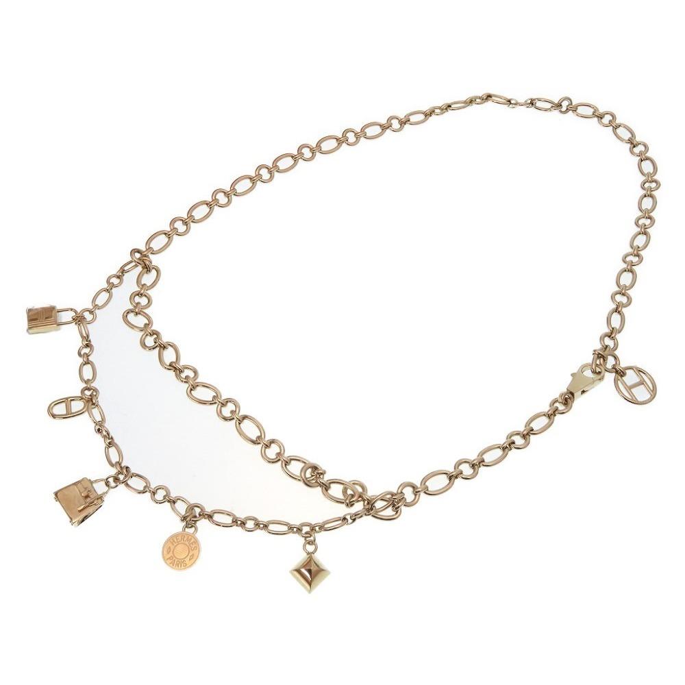 Unused HERMES Olga gold Chain belt Kelly serie Shine Dunkle Colliadian Cadena motif Necklace accessories Fri 0172