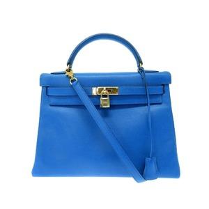 Hermes Kelly 32 2way Shoulder Hand Bag Kushubel Blue France □ A Engraved 0030 HERMES Women's