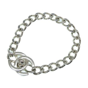 Chanel Vintage Turnlock Coco Mark Silver Bracelet Accessory 0286 CHANEL