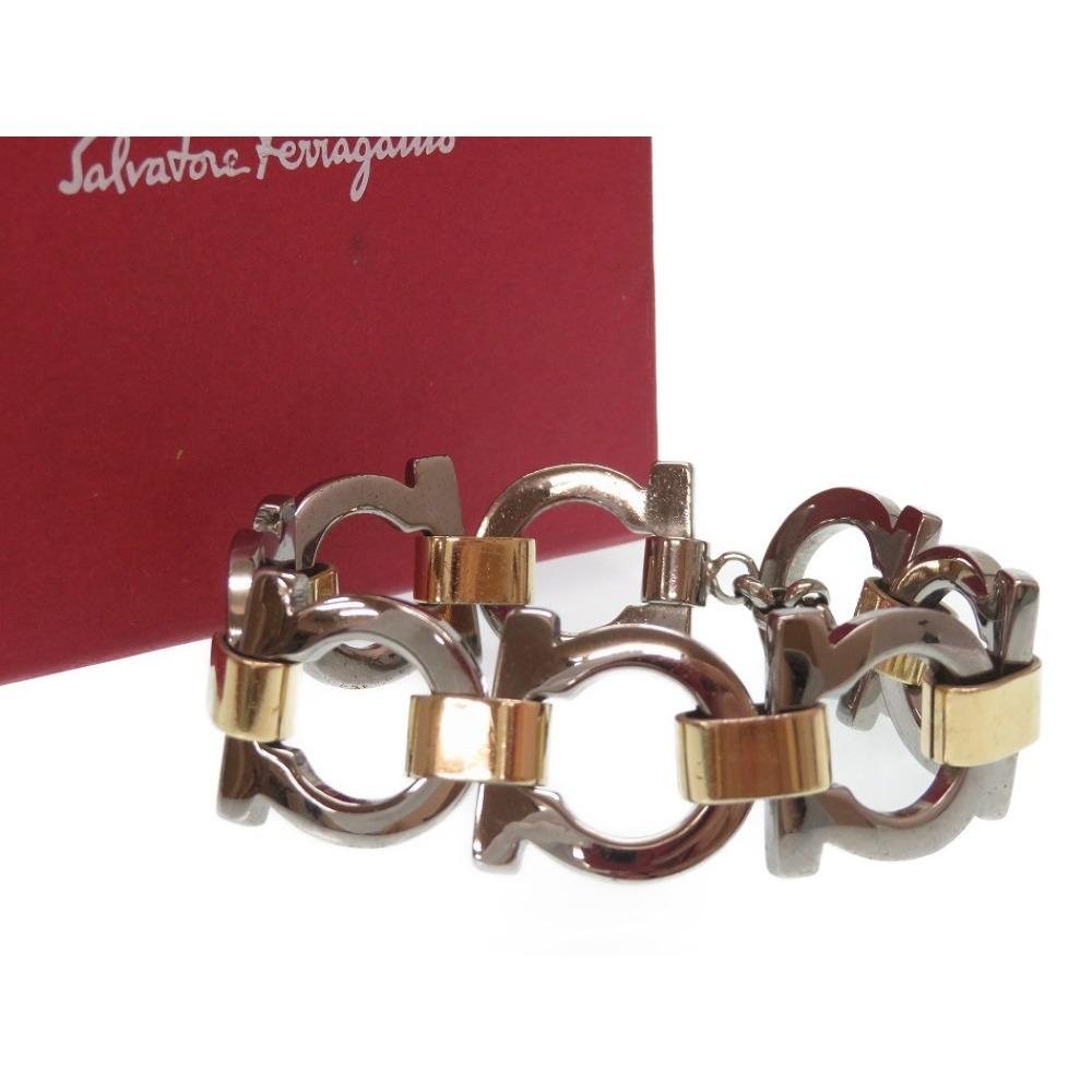 Salvatore Ferragamo Gancini Bracelet Silver Gold Accessory 0268 Women's