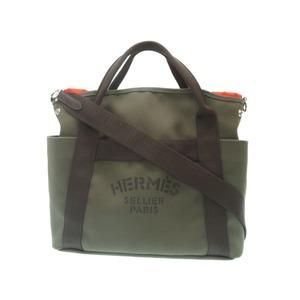 Unused HERMES SAKU DO PAN SURGE GLUMB HAND BAG Canvas Khaki A Stamp (Made in 2017) With Strap 0036