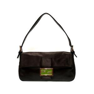 Fendi Leather Mumma Bucket Shoulder Bag Black 0240 FENDI