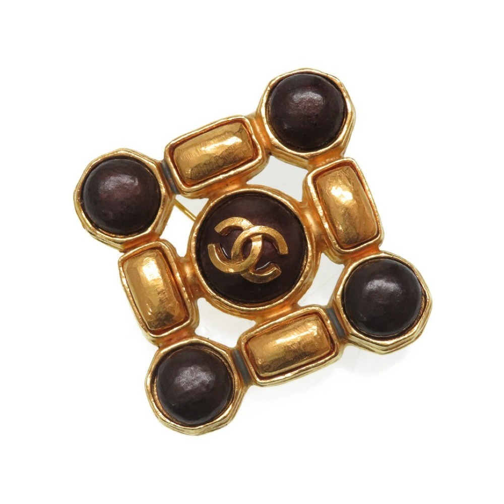 Chanel Vintage Coco Mark Brooches Stone Gold Accessories 0284 CHANEL